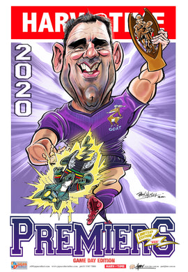Melbourne Storm 2020 NRL Premiers Game Day Harv Time Poster