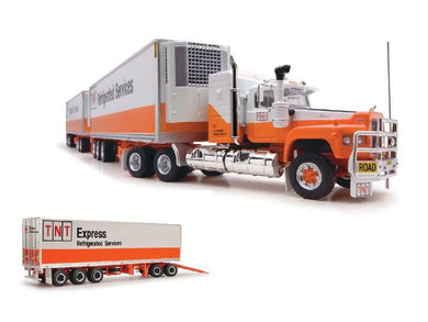 Highway Replicas Truck, TNT Refrigerated Freight Road Train PLUS Trailer with Dolly, 1:64 Diecast Vehicle