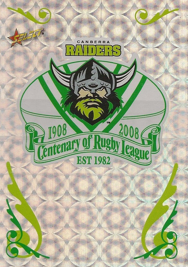 Canberra Raiders, Club Logo, 2008 Select NRL Centenary of Rugby League