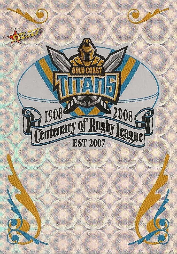 Gold Coast Titans, Club Logo, 2008 Select NRL Centenary of Rugby League