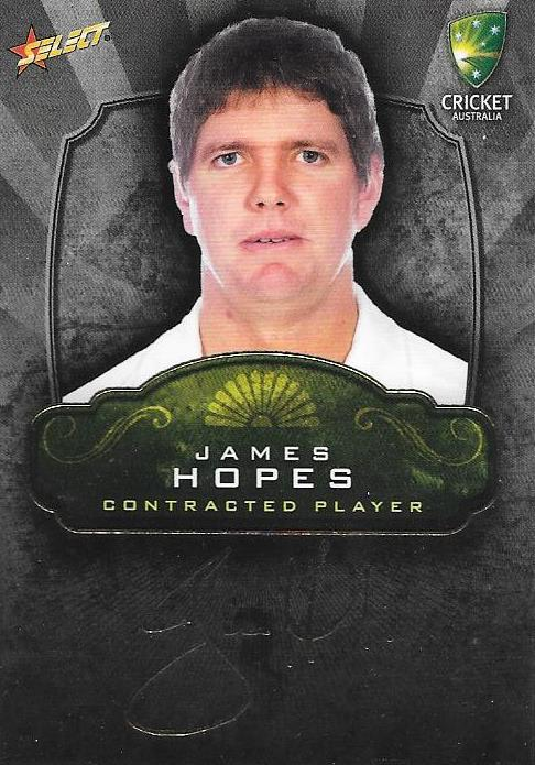 James Hopes, Contracted Player Gold Foil Signature, 2009-10 Select Cricket