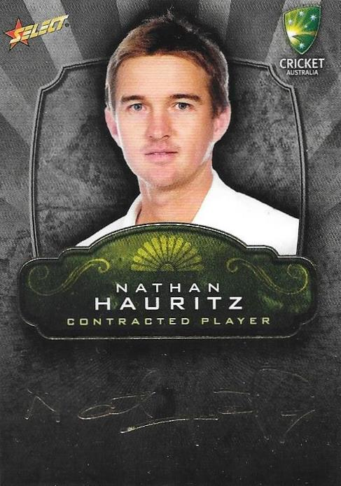 Nathan Hauritz, Contracted Player Gold Foil Signature, 2009-10 Select Cricket