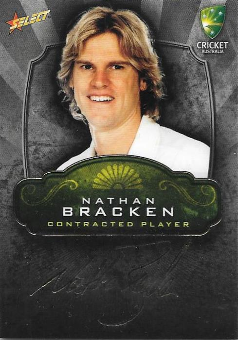 Nathan Bracken, Contracted Player Gold Foil Signature, 2009-10 Select Cricket