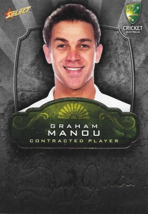 Graham Manou, Contracted Player Gold Foil Signature, 2009-10 Select Cricket