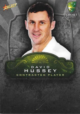 David Hussey, Contracted Player Gold Foil Signature, 2009-10 Select Cricket