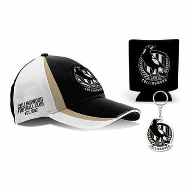 Collingwood Magpies Cap, Can Cooler & Keyring Gift Box