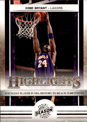 Kobe Bryant, Highlights, 2009-10 Panini Season Update NBA Basketball #13