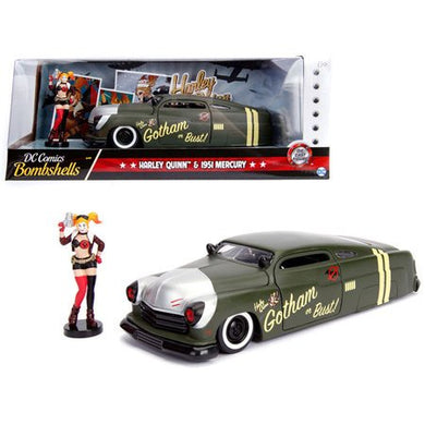 DC Bombshells - Harley Quinn 1951 Mercury, 1:24 Scale Diecast with Figure Hollywood Rides