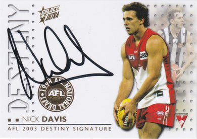 Nick Davis, Destiny Signature, 2003 Select AFL XL Ultra