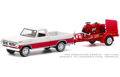 1972 Ford F-100 & Utility Trailer with 1920 Indian Scout, Hitch & Tow, 1:64 Diecast Vehicle