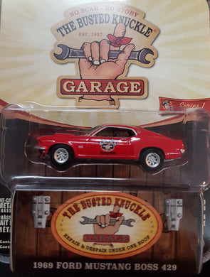 1969 Ford Mustang BOSS 429 Stock Car Racing, Busted Knuckle Garage, 1:64 Diecast Vehicle