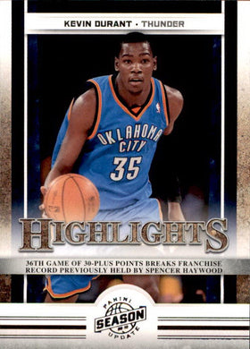 Kevin Durant, Highlights, 2009-10 Panini Season Update NBA Basketball