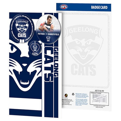 GEELONG CATS 3 BADGE GREETING CARD