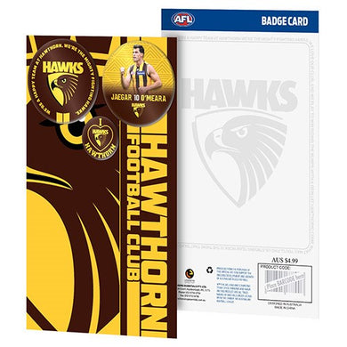 HAWTHORN HAWKS 3 BADGE GREETING CARD