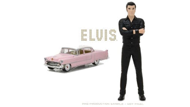 1955 Pink Cadillac Fleetwood Series 60, 1:64 Diecast Vehicle, with 1:18 scale Elvis Presley Figure
