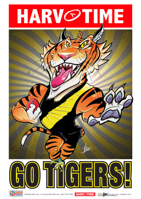Richmond Tigers Mascot Print, Harv Time Poster (2021)