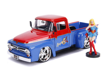 DC Bombshells - Supergirl 1956 Ford F100, 1:24 Scale Diecast with Figure Hollywood Rides