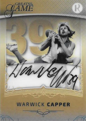 Warwick Capper, Gold Numbers Signature, 2017 Regal Football Greats of the Game
