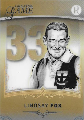 Lindsay Fox, Gold Numbers Card, 2017 Regal Football Greats of the Game