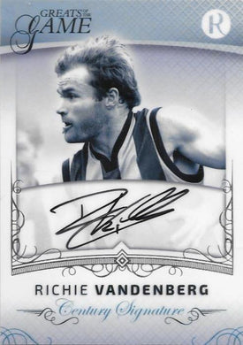 Richie Vandenberg, Century Signature, 2017 Regal Football Greats of the Game
