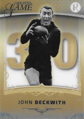 John Beckwith, Gold Numbers Card, 2017 Regal Football Greats of the Game