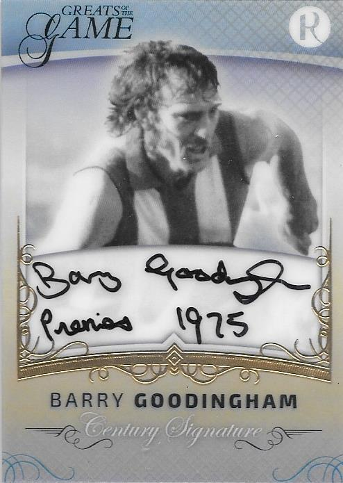 Barry Goodingham, Gold Century Signature, 2017 Regal Football Greats of the Game