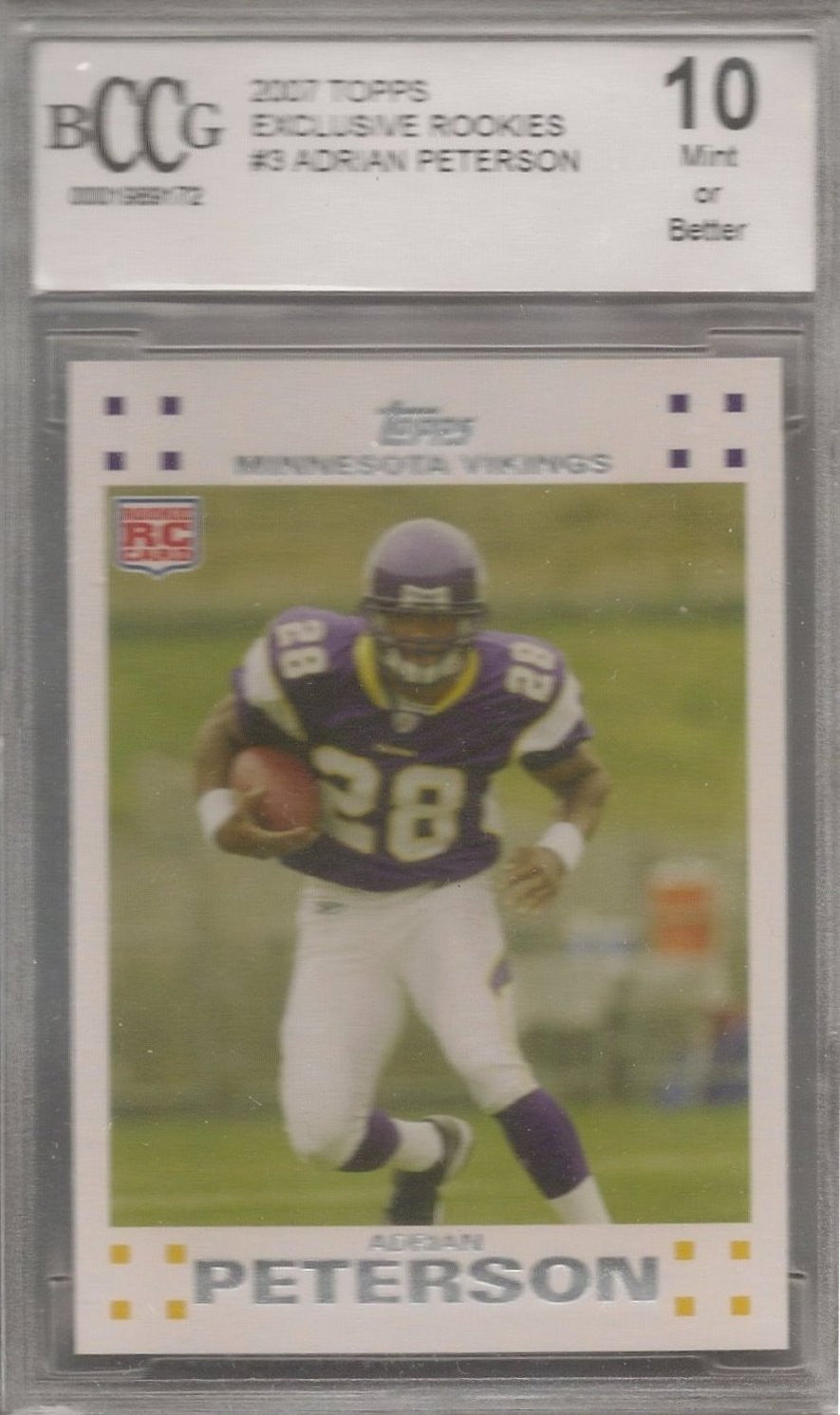 Adrian Peterson, 2007 Topps Exclusive Rookies, BCCG 10