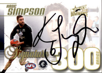 Kade Simpson, 300 Game Signature Case Card, 2019 Select AFL Dominance