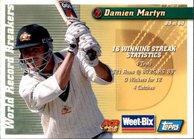 Kim Hughes & Damien Martyn, Hall of Fame Series, Weetbix, 2002 Topps ACB Gold Cricket