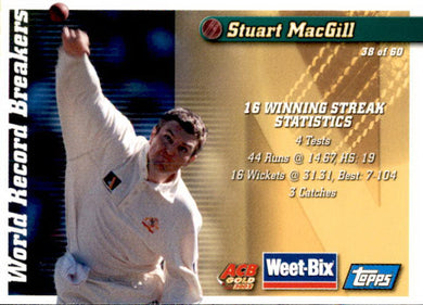 Ashley Mallett & Stuart MacGill, Hall of Fame Series, Weetbix, 2002 Topps ACB Gold Cricket