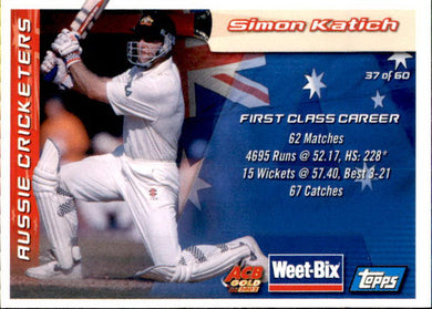Mark Taylor & Simon Katich, Weetbix, 2002 Topps ACB Gold Cricket