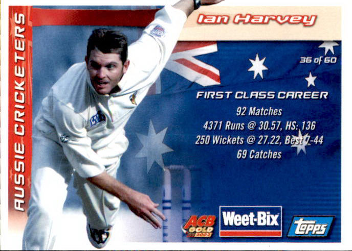 Simon O'Donnell & Ian Harvey, Weetbix, 2002 Topps ACB Gold Cricket