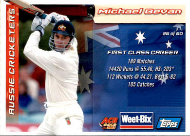 David Hookes & Michael Bevan, Weetbix, 2002 Topps ACB Gold Cricket