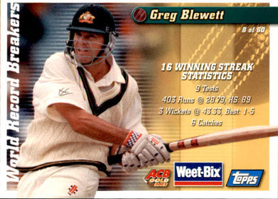 Bill Brown & Greg Blewett, Weetbix, 2002 Topps ACB Gold Cricket