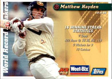 Bill Woodfull & Matthew Hayden, Weetbix, 2002 Topps ACB Gold Cricket