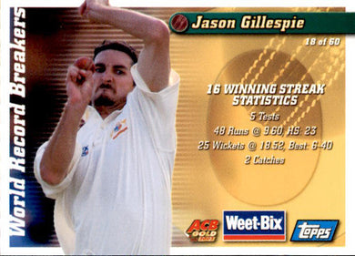 Fred Spofforth & Jason Gillespie, Weetbix, 2002 Topps ACB Gold Cricket