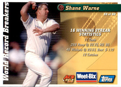 Bill O'Reilly & Shane Warne, Weetbix, 2002 Topps ACB Gold Cricket
