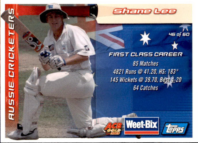 Keith Miller & Shane Lee, Weetbix, 2002 Topps ACB Gold Cricket