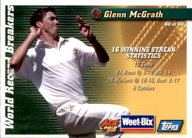 Ray Lindwall & Glenn McGrath, Weetbix, 2002 Topps ACB Gold Cricket