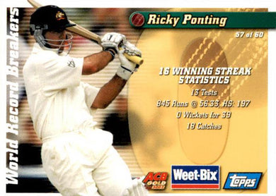 Neil Harvey & Ricky Ponting, Weetbix, 2002 Topps ACB Gold Cricket