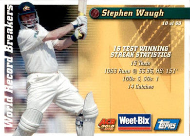 Sir Donald Bradman & Stephen Waugh, Weetbix, 2002 Topps ACB Gold Cricket