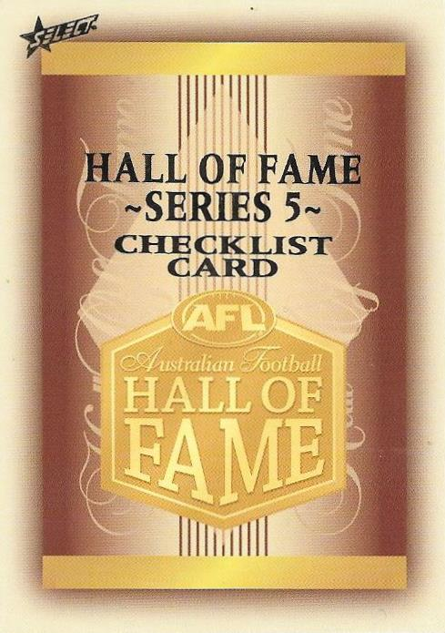 Checklist, Hall of Fame Players Edition, 2018 Select AFL Legacy