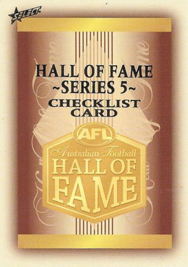 2018 Select AFL Legacy, Hall of Fame Series 5 Set of 34 Football cards