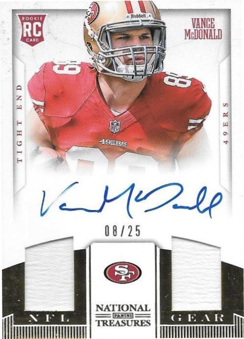 Vance McDonald, NFL Gear Signature Gold, 2013 Panini National Treasures NFL