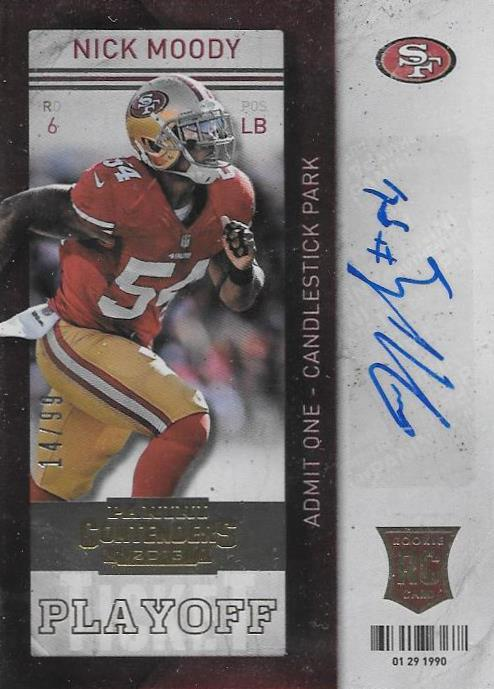Nick Moody, Gold Rookie Ticket Autograph, 2013 Panini Contenders NFL
