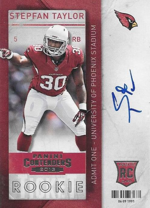 Stepfan Taylor, Rookie Ticket Autograph, 2013 Panini Contenders NFL