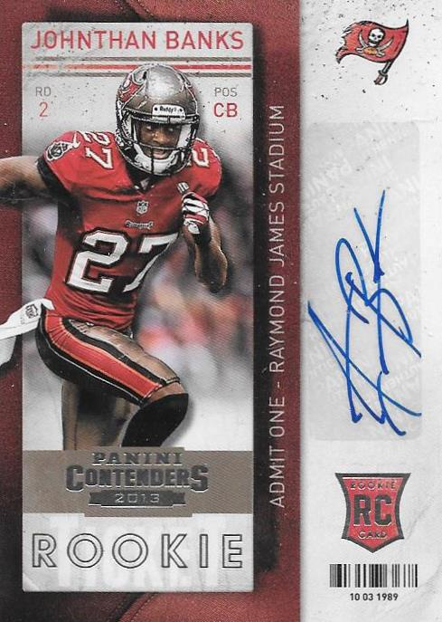 Johnthan Banks, Rookie Ticket Autograph, 2013 Panini Contenders NFL