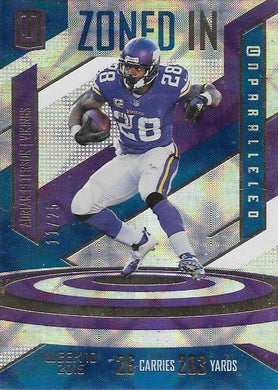 Adrian Peterson, Zoned In, 2016 Panini NFL Unparalleled Football /25