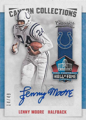 Lenny Moore, Canton Collections Signature, 2016 Panini NFL Classics Football