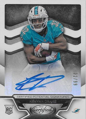 Kenyon Drake, Certified Potential Signatures, 2016 Panini NFL Certified Football